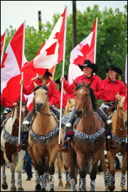 Riders in the 2015 Cremona Canada Day Parade. Photo by Brittney Pawson.