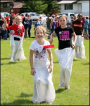Potato sack races are so much fun! Photo by Brittney Pawson.